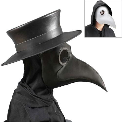 Black Plague Doctor Mask Birds Long Nose Beak Faux Leather Steampunk Halloween U