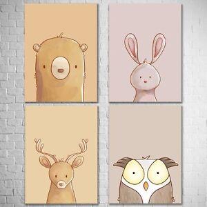 Kunstdrucke Kinderzimmer | 4er Set Bild A3 Kunstdruck Tiere Hirsch Eule Hase Bar Deko Poster