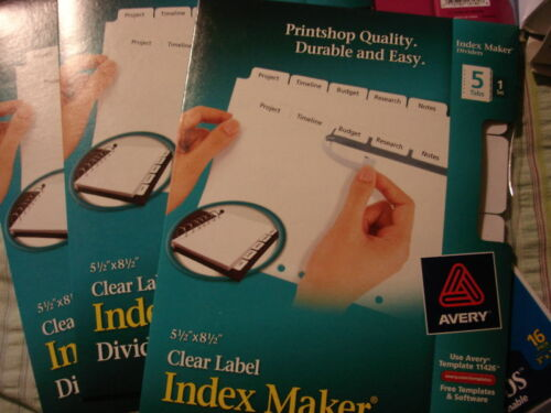 "AVERY INDEX MAKER DIVIDERS  5 1//2/"" X 8 1//2/"" 11426 LOT OF 2"