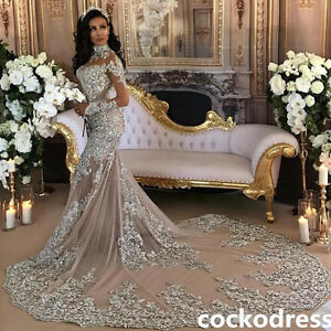 Image Is Loading Gorgeous Crystals Chapel Train Wedding Dress Long Sleeve