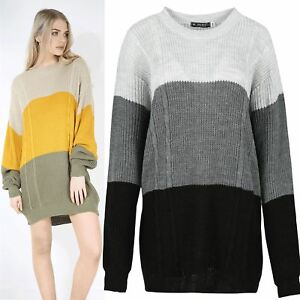 Ladies Long Sleeve Cable Knit Stripe Oversized Curved Hem Jumper Sweater Top