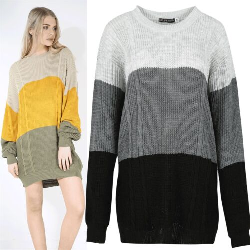 Womens Ladies Contrast Panel Block Knit Cable Top Pullover Sweater Jumper Dress