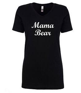 Mama-Bear-T-Shirt-Mom-Mother-Newborn-Baby-Mama-Mommy-Women-039-s-V-Neck-Black-Shirt