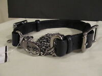 St John Knit One Size For P, S M Belt Silver Chain & Black Buckle Leather Belt