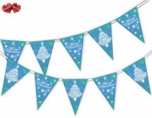 Merry-Christmas-Tree-stelle-e-fiocchi-di-neve-Bunting-Banner-15-Bandiere-da-Festa-Decor
