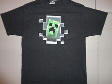 Minecraft Creeper Black Graphic T Shirt Adult L Free Shipping US