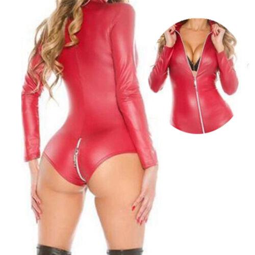 Mode Damen Catsuit Wetlook Kunstleder Zip Bodysuit PU Leder Overall Kostüm S-3XL
