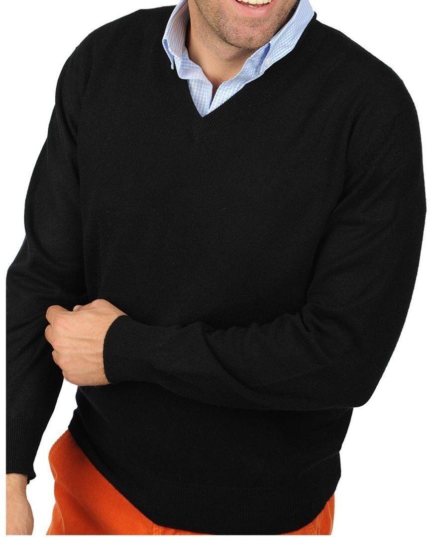 Balldiri 100% Cashmere Kaschmir Herren Pullover V Ausschnitt schwarz XL