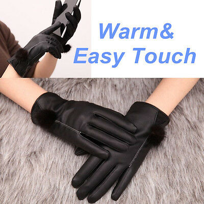 M/ L Winter Women Leather Mink Hair Gloves Easy Click Touch Screen SmartPhone