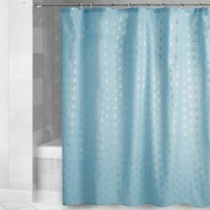 Silver Anchors Blue Fabric Shower Curtain Coastal Beach Nautical Decor NEW
