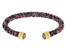 NIB-69-Swarovski-Crystaldust-Cuff-Bracelet-Black-Purple-Size-Small-5380087
