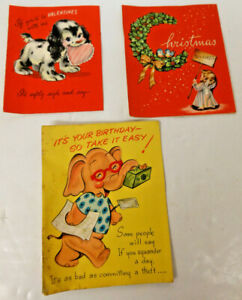 Greeting-Cards-Mid-Century-LOT-3-VTG-Birthday-Valentine-Christmas-Dec-16-1953