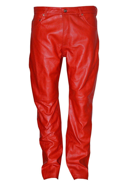 Da Uomo Classico Stile Biker Pantaloni semplici Rosso Cuoio Moto Jeans Pantalone