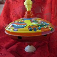 VintageWestern Germany Tin BIG Spinning Top Fuchs WIR Retro Old Tin Toy