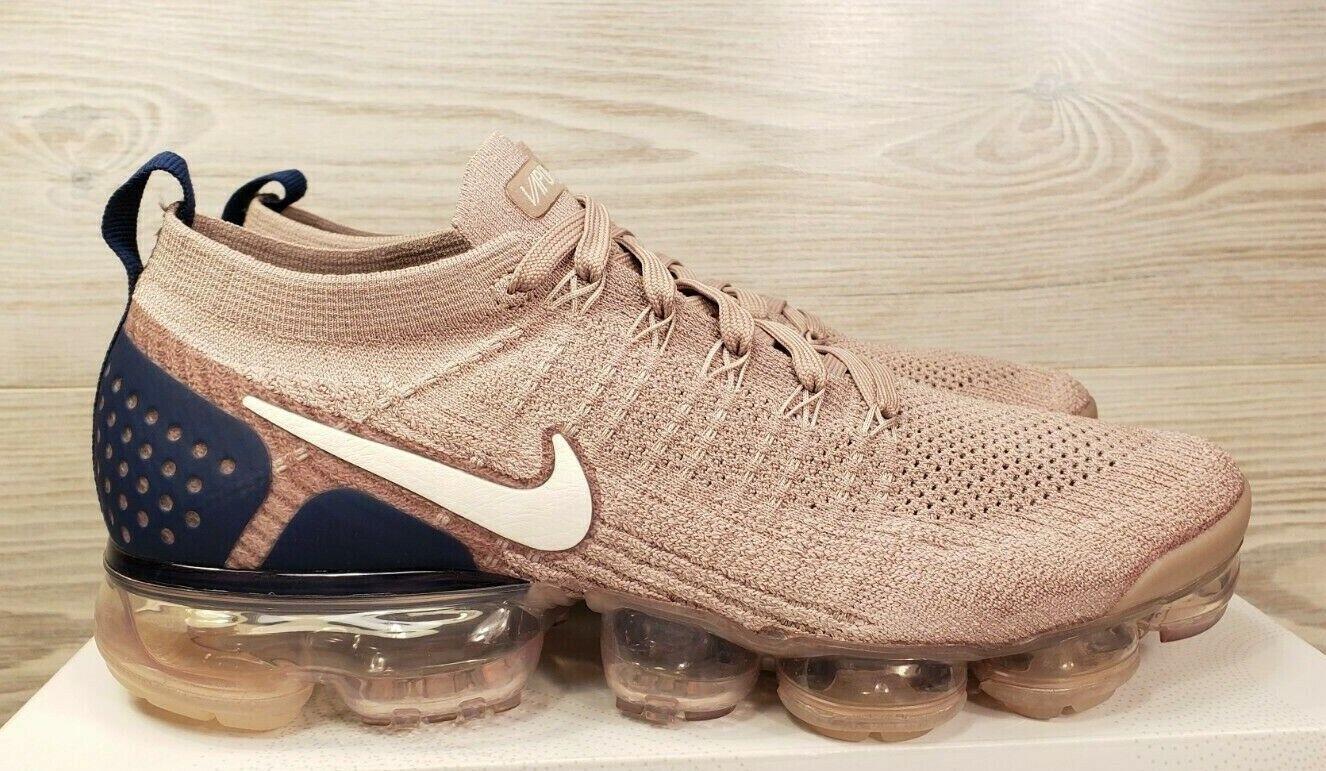 57faaa15c42b Nike Nike Nike Air Vapormax Flyknit 2 Taupe Navy Running Training 942842 201  Size 10 b351f3