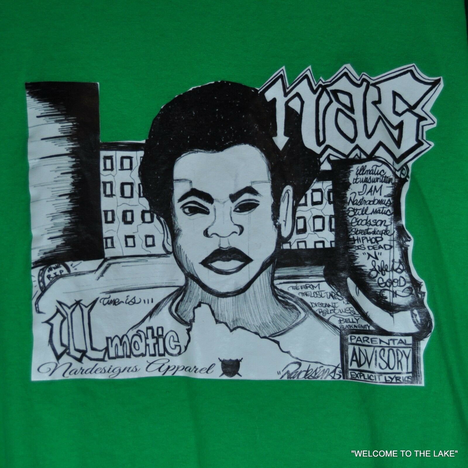 NAS  ILLMATIC  T-SHIRT, FROM 2014, ONE-OF-A-KIND, XL, GRAPHIC ALBUM COVER