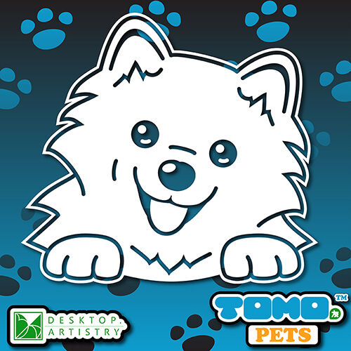 Desktop Artistry Tomo Pets Vinyl Decal Sticker JAPANESE SPITZ 20x18cm Cute Dog