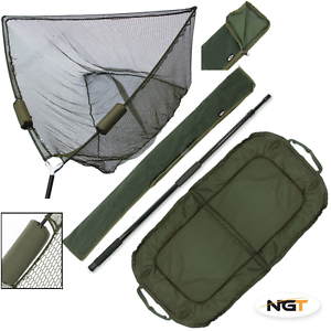 CARP FISHING 50  NGT DUAL FLOAT LANDING NET + HANDLE + STINK BAG + BEANIE MAT