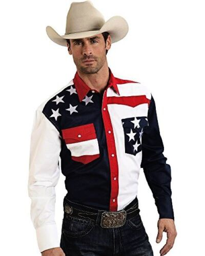 Roper Mens Americana Collection Stars And Stripes Western Shirt  S