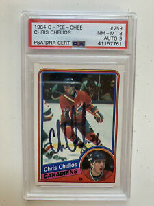Chris-Chelios-Rookie-Card-1984-O-Pee-Chee-259-Signed-Autographed-PSA-DNA-8-9
