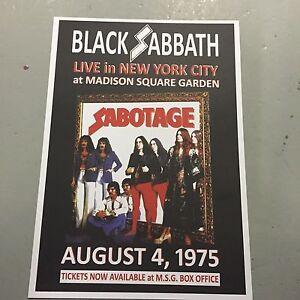black sabbath concert poster msg new york u s a 4th august 1975 a3 size ebay. Black Bedroom Furniture Sets. Home Design Ideas