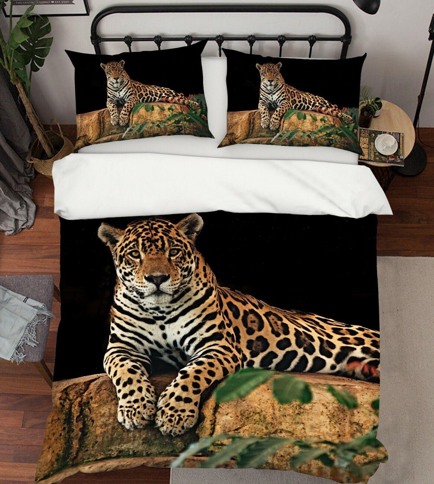 3D Jaguar Nature P23 Animal Bed Pillowcases Quilt Duvet Cover Set Queen Zoe
