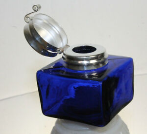 Vintage-Antique-Style-Square-Cobalt-Blue-Glass-Inkwell-Bottle-ink