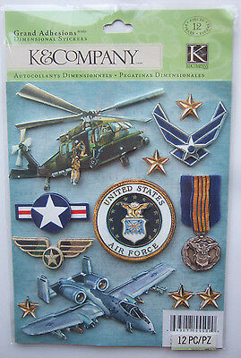 ~UNITED STATES AIR FORCE~ Grand Adhesions Dimensional Stickers; Military Jets