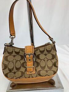 Coach-Handbag-6362-Brown-Canvas-and-Leather-Shoulder-Bag