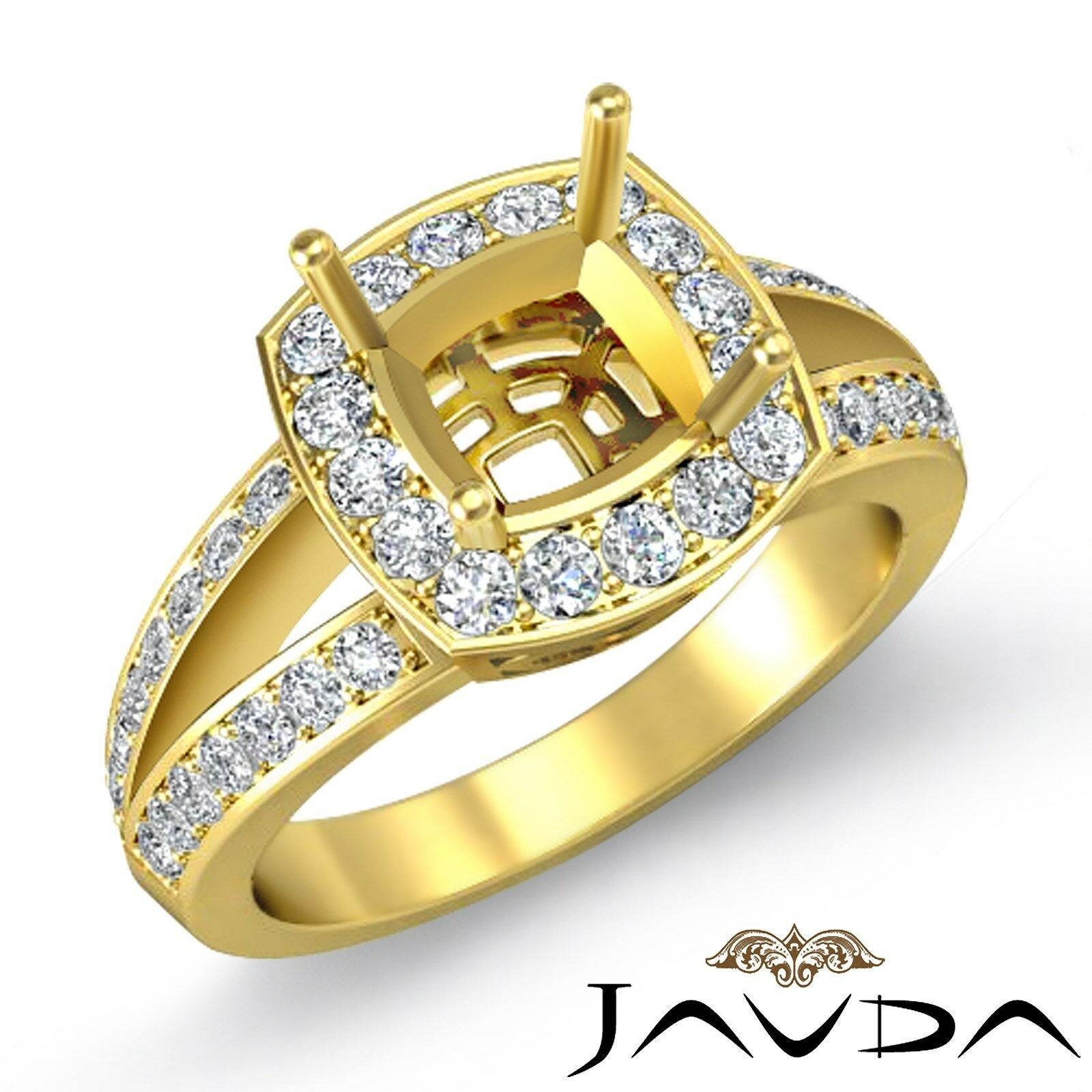 Diamond Engagement Ring 14k Yellow gold Cushion Semi Mount Halo Pave 0.6 Carat