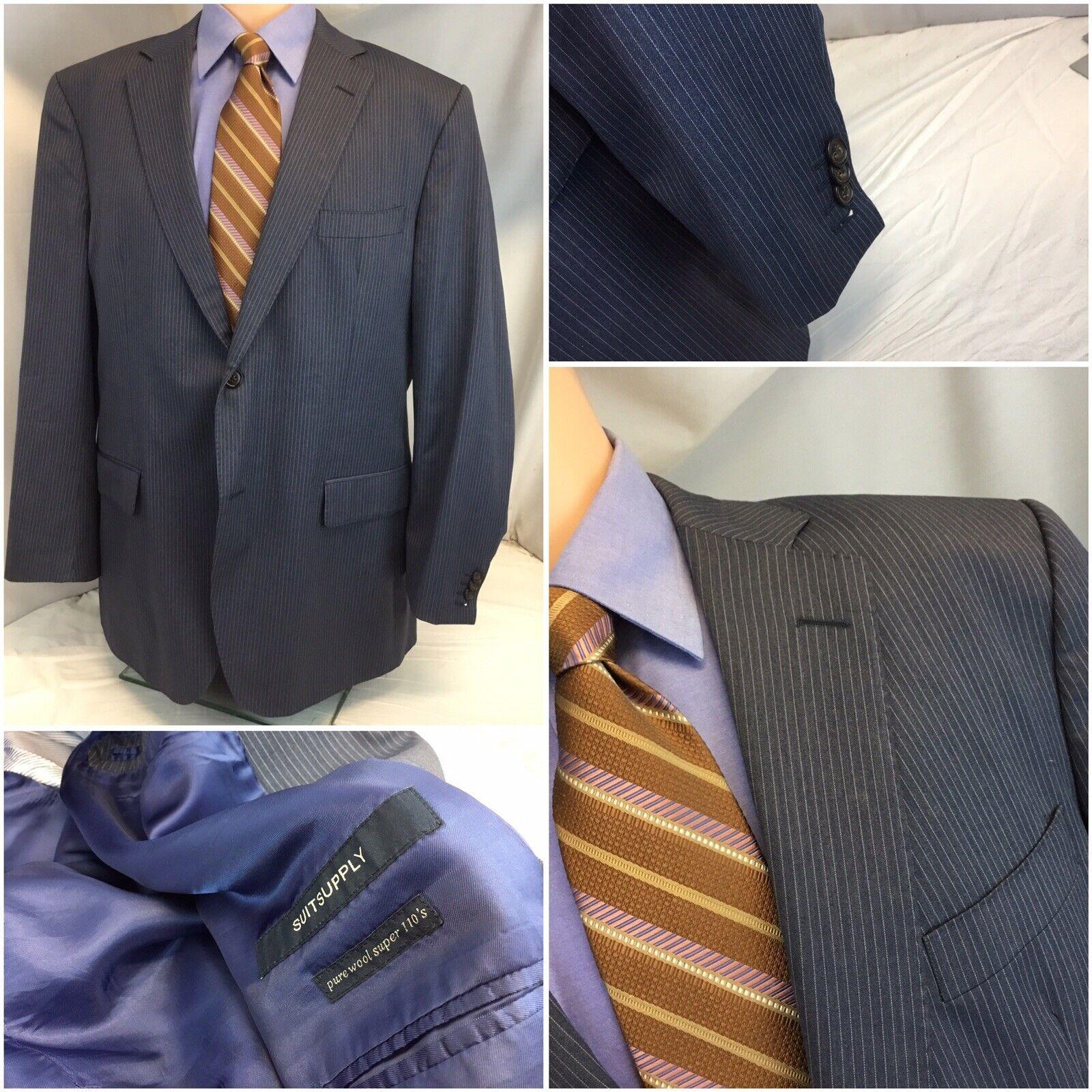Suit Supply Bespoke Blazer Super 110 44R bluee Stripe 2b 2v Func Cuffs YGI C9-463
