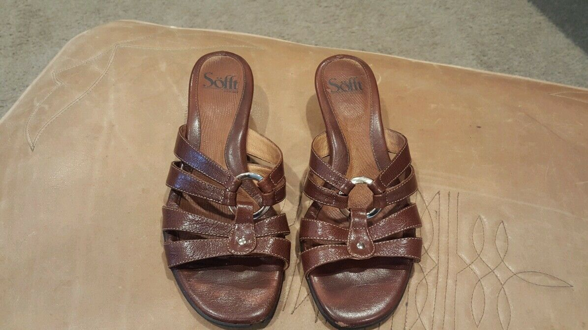 Sofft Womens Brown Leather Size Slide Sandals Size Leather 7.5 79f8db