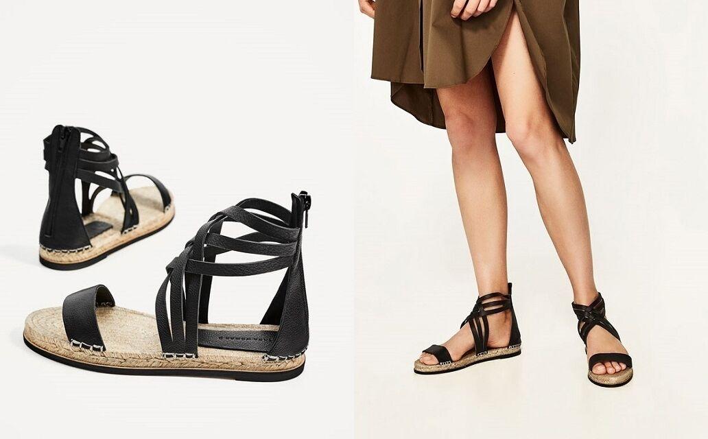 Zara Woman Pelle Sandali Espadrilles Cinturino Leather Straps FLAT 38 39 40 41