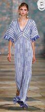 Tory Burch Debra Caftan Dress Tunic Runway Blue XL RARE 14 NWT $895 FRINGE GOWN