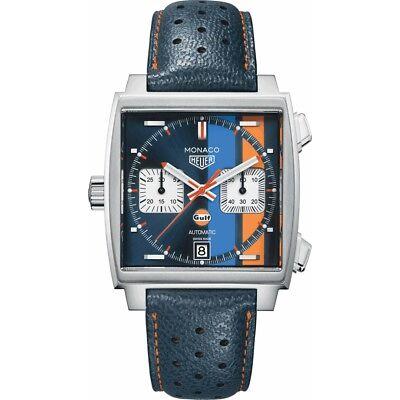 Brand New TAG Heuer Monaco Gulf Racing Steve McQueen Men's Watch CAW211R.FC6401