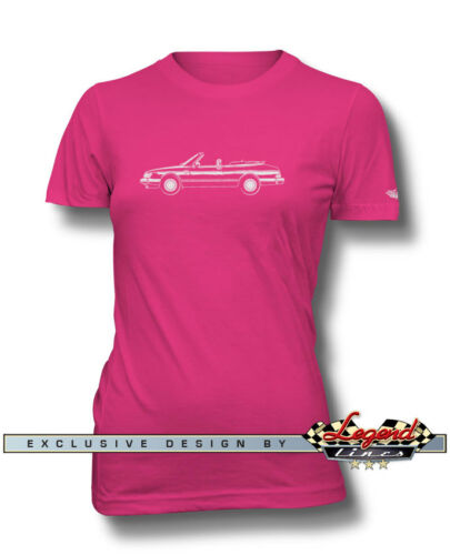 Saab 900 Turbo Convertible Cabriolet T-Shirt for Women Multiple Colors /& Sizes