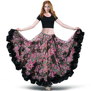 C249-Belly-dance-Flamenco-Skirt-with-360-Grad-Tribal-Circle-in-Flower-Motif