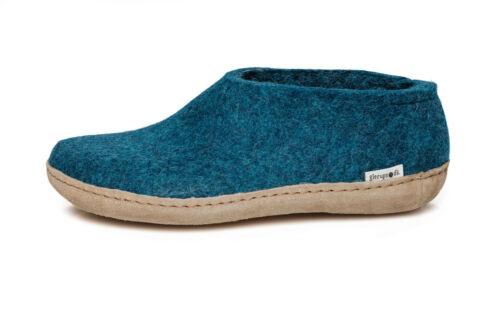 Wool Felt Slippers Leather Sole NEW Glerups Unisex A Petrol Choose Size