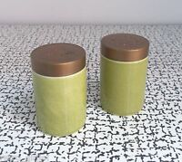 60s 70s Retro Vintage Kitsch Hornsea Pottery Green Salt & Pepper S&P Pots Cruet