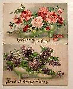 Lot-of-2-Victorian-High-Heel-Shoes-amp-Flowers-Antique-Greetings-Postcards-p915