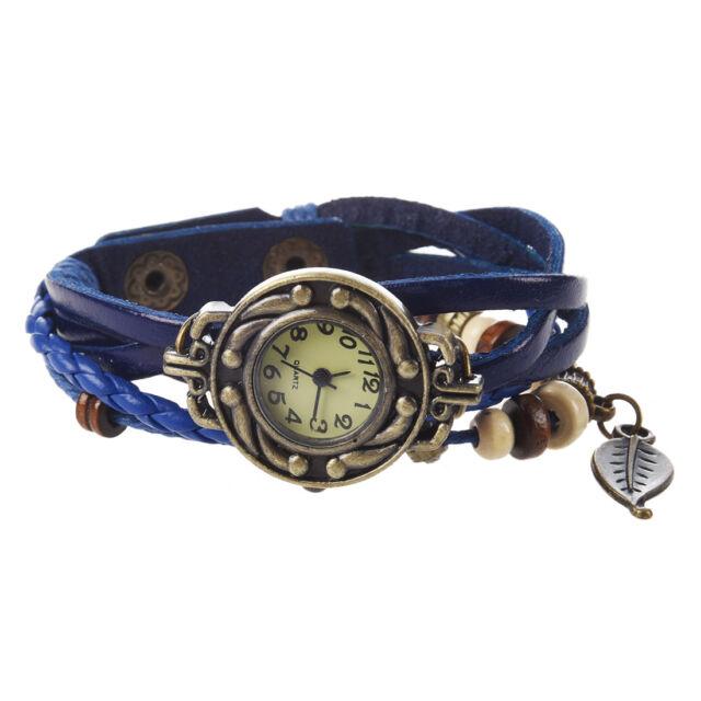 Retro Weave Wrap Around Leather Bracelet Lady Wrist Watch Watch (blue) D3B1 A1A6