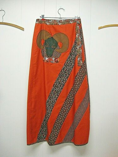 60/'s 70/'s Striped Satin Maxi Skirt Vintage 1960/'s 1970/'s Small S