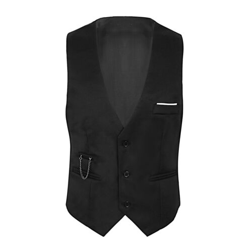 Men Formal Tuxedo Waistcoat Top Business Wedding Slim Fit Dress Vest Suit Blazer