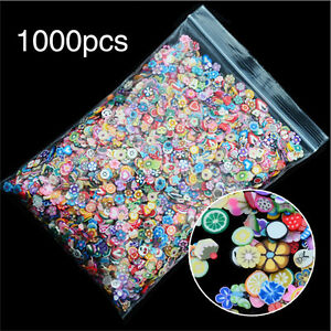 1000PCS-3D-Fruit-Animals-Fimo-Slice-Clay-DIY-Nail-Art-Tip-Sticker-Decoration-LJ