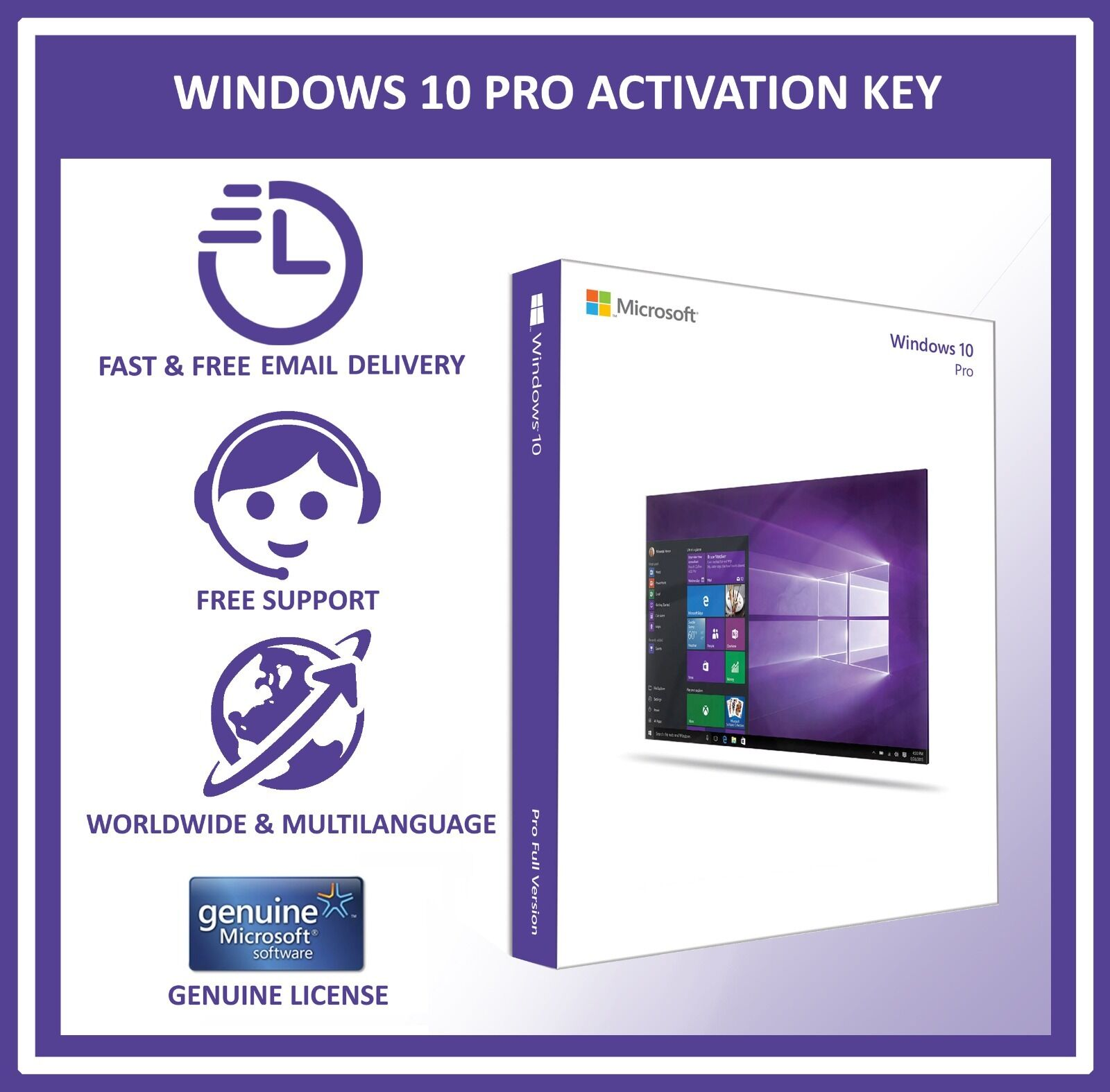 genuine microsoft windows 10 pro professional 32 64bit oem license key code ebay. Black Bedroom Furniture Sets. Home Design Ideas