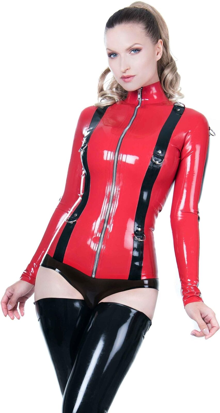 Sintress Bondage Jacket Top rot with schwarz Trim