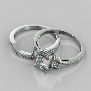 2.94 Ct Emerald Moissanite Engagement Band Set 18K Solid White Gold Ring Size 6