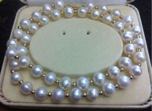 REAL NOBLEST AAA 8-9MM AKOYA WHITE NATURAL PEARL NECKLACE 18/'/'