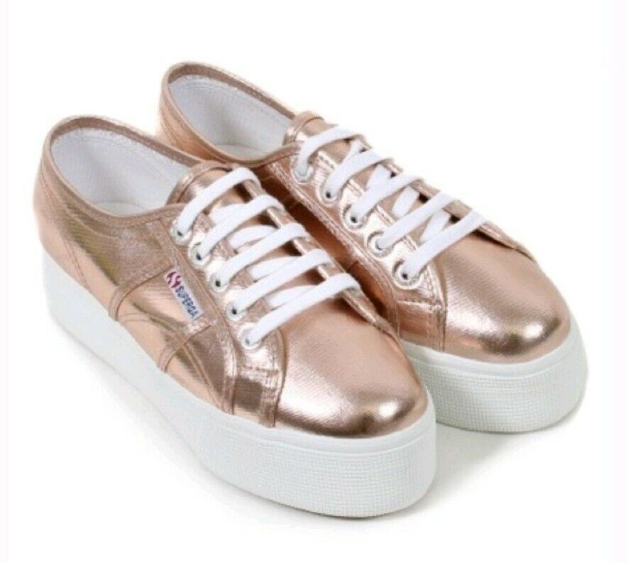 Superga 2790 COTMETU Platform Plimsoll shoes in pink gold Size 39.5EUR 8.5US