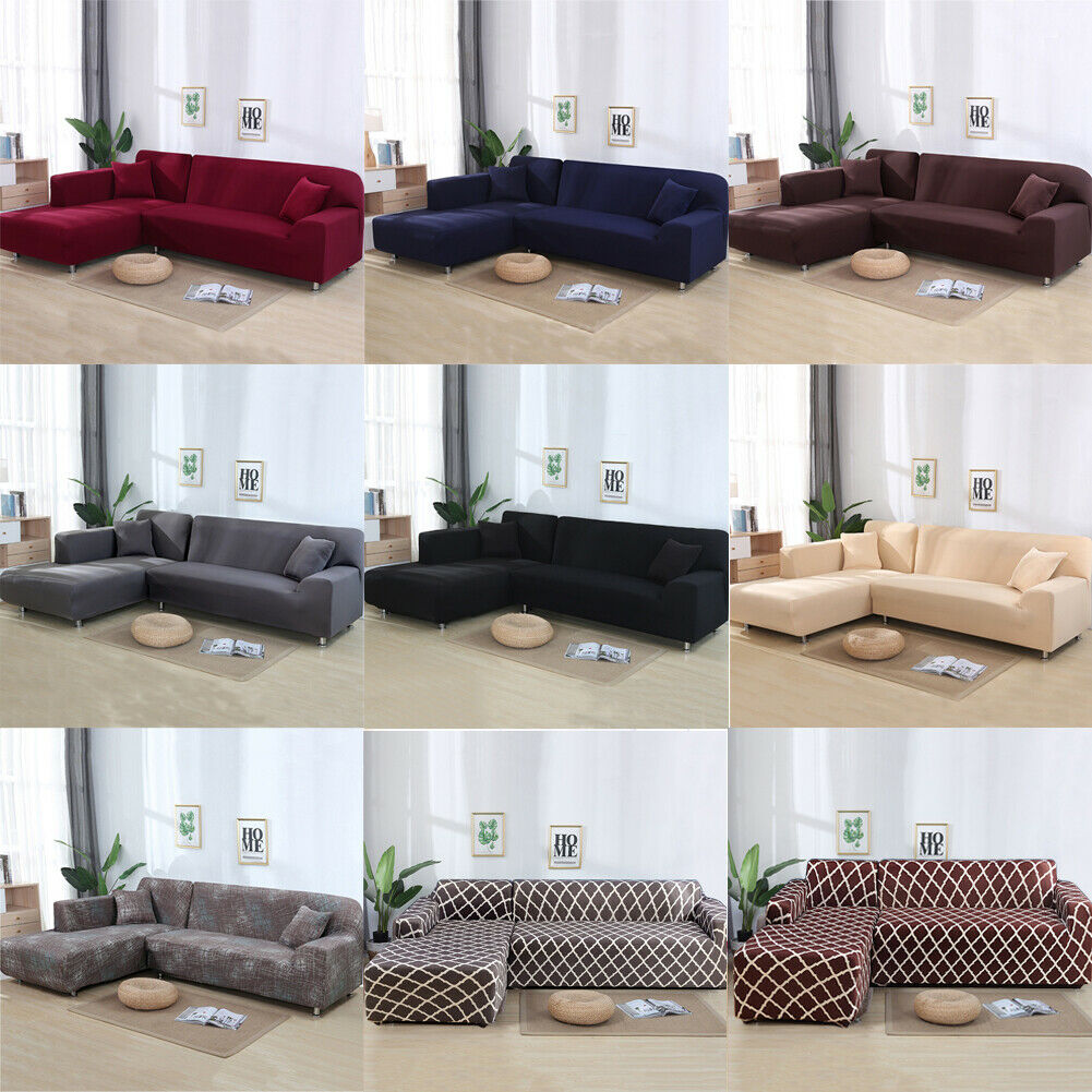 2pcs Sofa Covers Polyester Fabric Stretch Slipcovers for L S